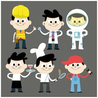 Illustrationen von verschiedenen professionellen charakteren