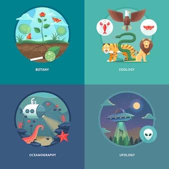 Illustrationen zu bildungs- und wissenschaftskonzepten. botanik, zoologie, ozeanographie und ufologie. wissenschaft vom leben und ursprung der arten. .