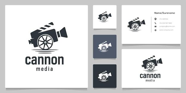 Illustrationen zu kanone und rad militärvideofilm logodesign