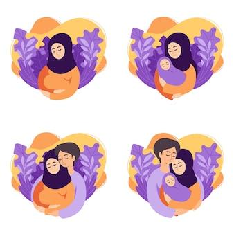 Illustrationen zu schwangerschafts- und elternschaftskonzepten. satz szenen muslimische schwangere frau, mutter hält neugeborenes, zukünftige eltern erwarten baby, mutter und vater halten ihr neugeborenes baby.
