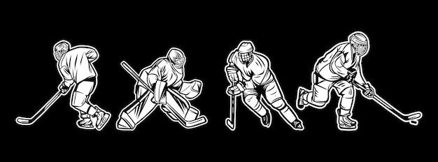 Illustrations-eishockeyspieler-schwarzweiss-satz