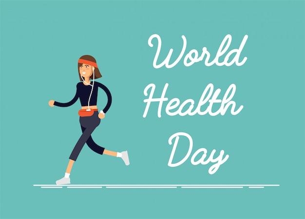 Illustrations-festkarte weltgesundheitstag mit feamel, der körperliche bewegung, fitness-training, sport durchführt.