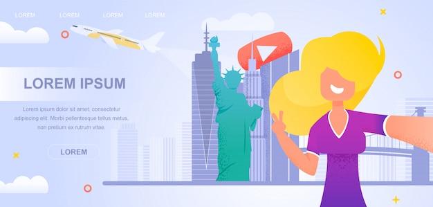 Illustrations-mädchen, das video-neue reise-blogging filmt.