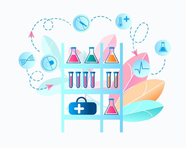 Illustrations-medizinisches labor, das virus erforscht