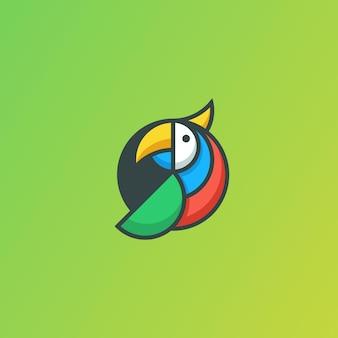 Illustrations-vektorschablone des papagei-geometrischen konzeptes