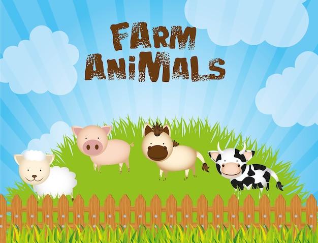 Illustrationsbauernhof mit kuhschafschwein und -pferd auf gras
