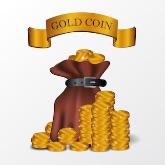 Illustrationsbeutel des goldenen münzengeldes