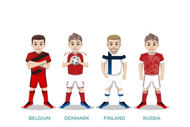 Illustrationscharakter des fußballspielers für die europameisterschaft Premium Vektoren
