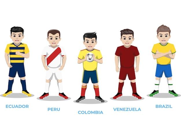 Illustrationscharakter des fußballspielers für die südamerikanische meisterschaft