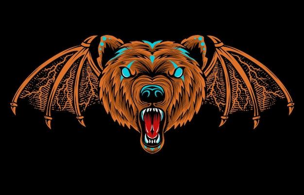 Illustrationsdämonenbärenkopf auf schwarzer oberfläche