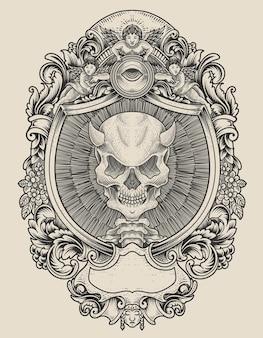 Illustrationsdämonenschädel mit gravurverzierungsart