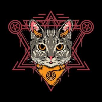 Illustrationsdesign der süßen halloween-katze mit heiliger geometrieart im schwarzen hintergrund