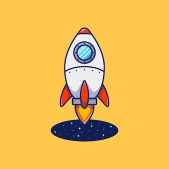 Illustrationsdesign einer rakete, die aus einem schwarzen loch fliegt premium isoliertes tierdesignkonzept