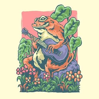 Illustrationsdesign eines frosches, der gitarre spielt