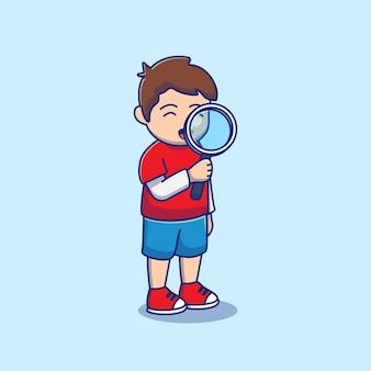Illustrationsdesign eines studenten wieder mit einer lupe zum anzeigen
