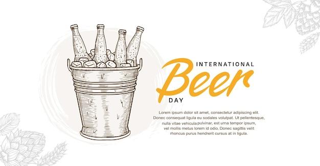 Illustrationsdesign zum internationalen biertag mit handgezeichneter flasche im eimer