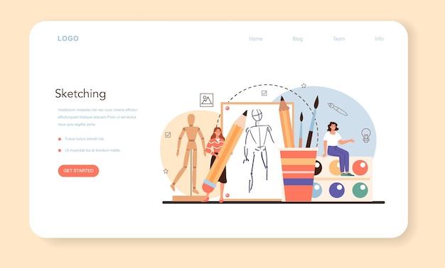 Illustrationsdesigner-webbanner oder landingpage-set. isolierte vektorillustration