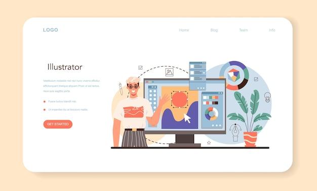 Illustrationsdesigner-webbanner oder zielseite. künstlerzeichnungsbild für bücher und zeitschriften, digitale illustration für websites und werbung. kreativer beruf. flache vektorillustration