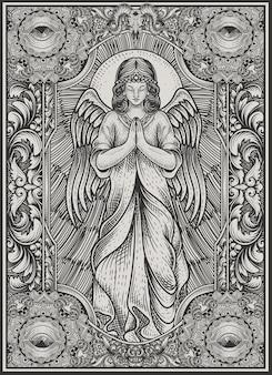 Illustrationsengel, der mit vintage-gravur-stil betet