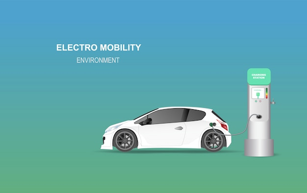 Illustrationsfahne mit ladestation des elektroautos.