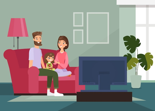 Illustrationsfamilie mit kind, das auf der couch sitzt, zusammen fernsieht, familienzeit zu hause