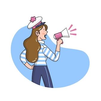 Illustrationsfrau, die mit einem megaphonkonzept schreit
