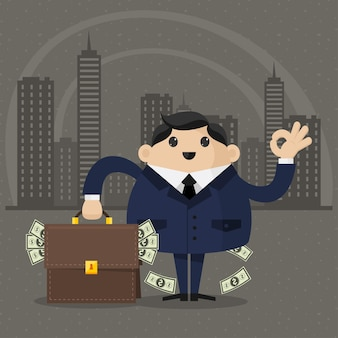 Illustrationsgeschäftsmann hält einen koffer mit geld, format eps 10