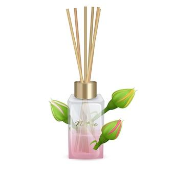 Illustrationsglas mit aromastäbchen rosenstäbchen aromaillustration