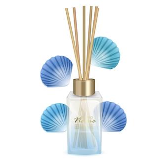 Illustrationsglas mit aromastäbchen stäbchen mit frischem duft von meeresbrise aromaillustration
