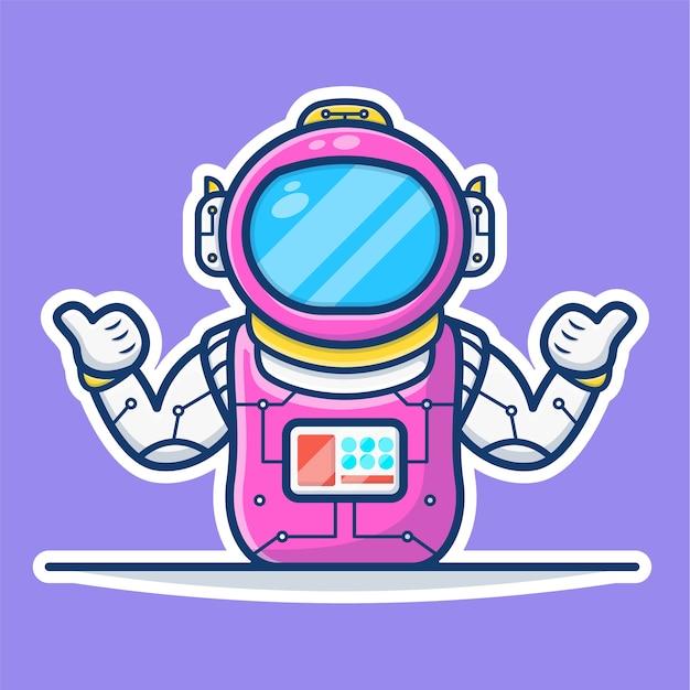 Illustrationsgrafik der astronautenwellenhände