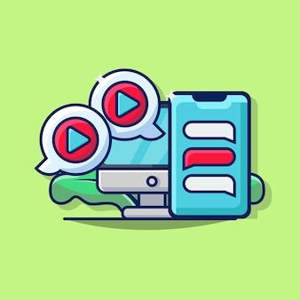 Illustrationsgrafik der geschäftsvideomeldung mit smartphone, computermonitor und blasen-chat-symbol
