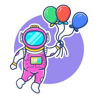Illustrationsgrafik der schwimmenden luftballons des astronauten