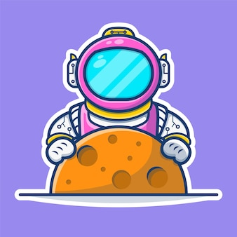 Illustrationsgrafik des astronauten, der mond hält