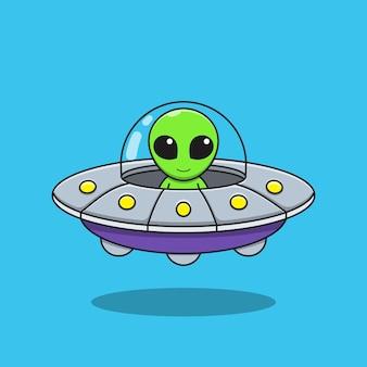 Illustrationsgrafik des außerirdischen karikatur fährt eine fliegende untertasse