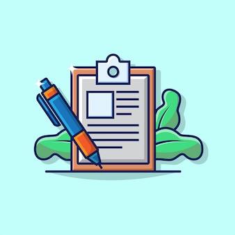 Illustrationsgrafik des geschäftsunterzeichnungsvertrags mit stift und unterzeichnungspapier