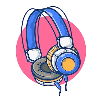 Illustrationsgrafik des kopfhörers zum musikhören