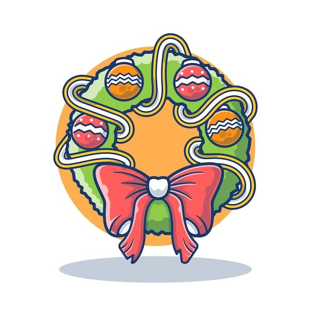 Illustrationsgrafik des weihnachtskranzes mit verzierung und bogen
