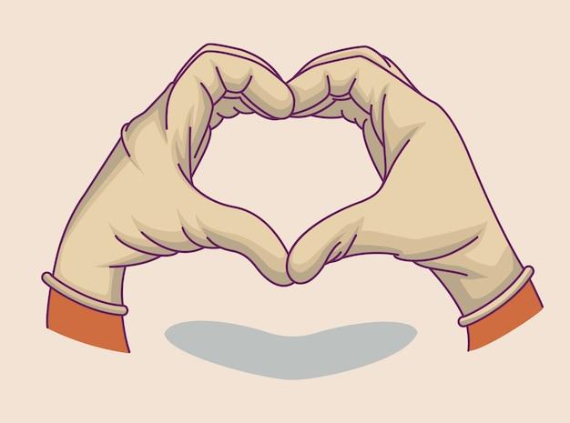 Illustrationshand in medizinischen handschuhen. herz aus händen. symbol, gekritzelillustration