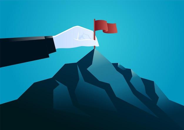 Illustrationshandstecker in einer flagge an der spitze des berges. zielgeschäft beschreiben.