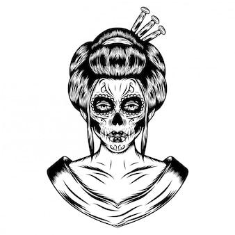 Illustrationsinspiration der japanischen frisur mit erschreckender gesichtskunst