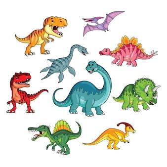 Illustrationskarikatur des netten dinosauriersammlungssatzes
