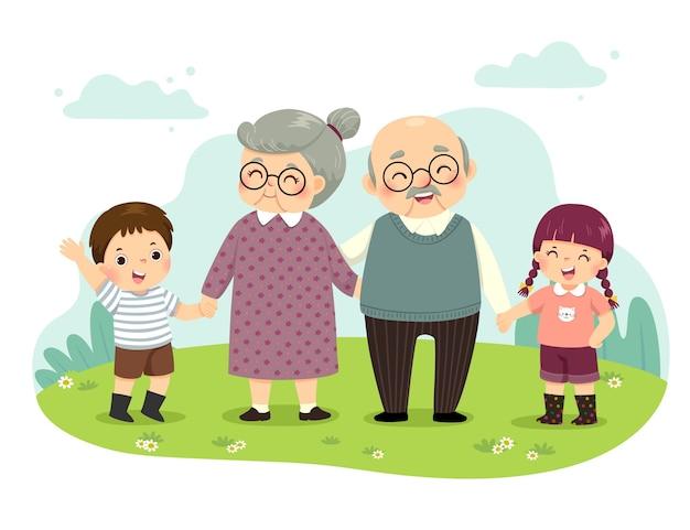 Illustrationskarikatur von großeltern und enkelkindern, die händchenhalten im park stehen. glückliches großelterntagkonzept.