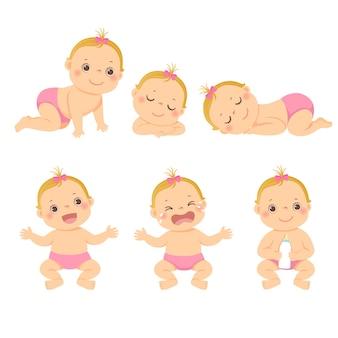 Illustrationskarikatursatz des niedlichen kleinen babys oder des kleinkindmädchens in der verschiedenen aktivität.