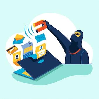 Illustrationskonzept cyber-kriminalität von hackern, die daten stehlen und phishing betreiben
