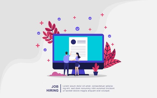 Illustrationskonzept der einstellung von arbeitsplätzen. unternehmer und frauen öffnen rekrutierung
