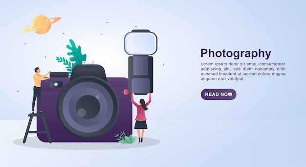 Illustrationskonzept der fotografie mit der person, die den kamerablitz hält.