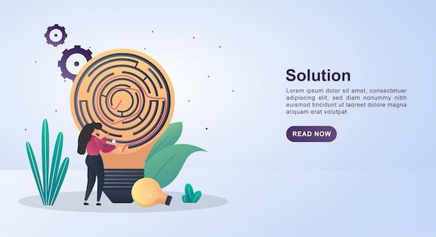 Illustrationskonzept der lösung mit einer glühbirne, die ein labyrinth enthält.