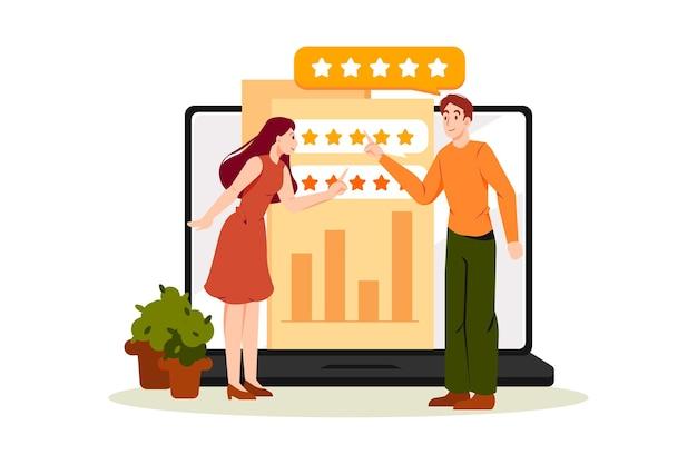 Illustrationskonzept der online-einkaufsbewertung