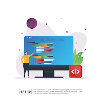 Illustrationskonzept der programmierung mit der person, die den computer hält.