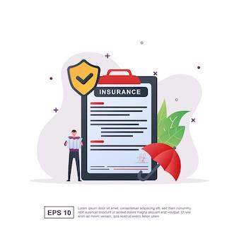 Illustrationskonzept der versicherung mit der person, die den versicherungsvertrag schreibt.